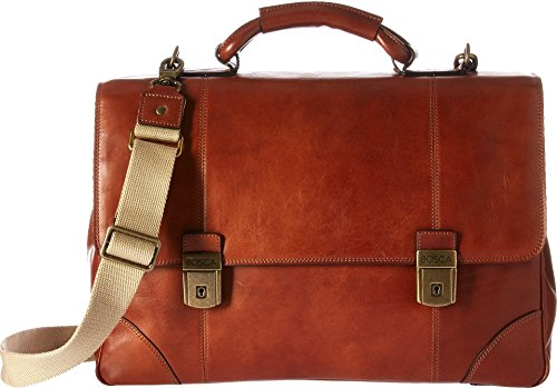 - Bosca Men's Dolce Collection - Double Compartment Flapover Brief (Amber)