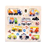 Winkey Toys for Age 1 2 3 4 5 6 Years Old Baby Boys Girls, 9 Piece Wooden Animal Puzzle Jigsaw Early Learning Baby Kids Educational Toys (Traffic Cars)