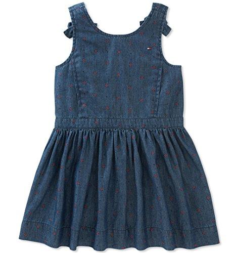Tommy Hilfiger Little Girls' Denim Dress, Print/Dark wash Blue, 6 ()