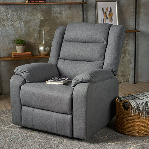 Adelande Cushioned Charcoal Fabric Power Recliner by GDF Studio