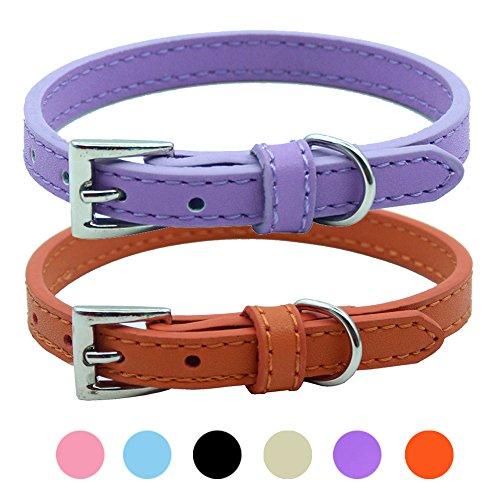 2 PCS Soft Leather Cat Kitten Collar-Orange, Purple, Black, Khaki, Pink, Blue (Red Leather Cat Collar)