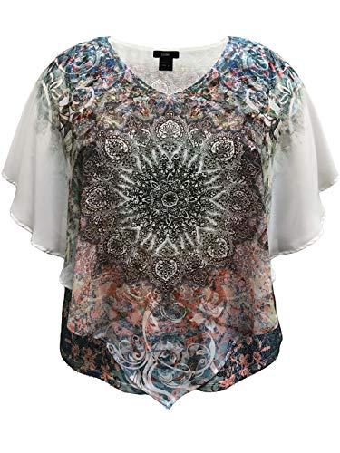 LEEBE Plus Size Double-Layered Print Chiffon Poncho Top (1X (14-16), Mulit-Color Medallion)