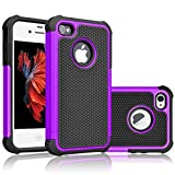 Tekcoo Compatible for iPhone 5S Case/iPhone SE Case/iPhone 5 Case, [Tmajor Series] [Purple/Black] Shock Absorbing Hybrid Defender Rugged Cover Skin Shell Hard Plastic Outer & Rubber Silicone Inner