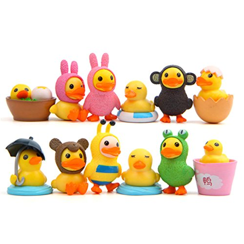 12 Pcs Yellow Duck Toys Figurines Playset, Yellow Duck Action Figure Collection Playset, Cupcake Topper, Micro landscape, 1-1.8