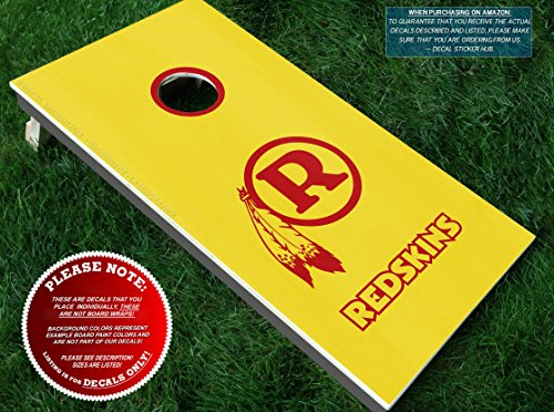Redskins Cornhole Decals | COLOR CHOICE | Three (3) Vinyl Decals for DIY Board Building & Decorating | Decal Sticker Hub