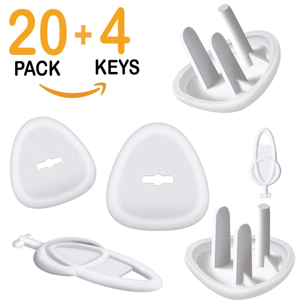 Outlet Covers, Baby Proofing Outlet Plugs, Electrical Wall Outlet Cover for Baby Safety (20 Plugs + 4 Keys) ModaBebis