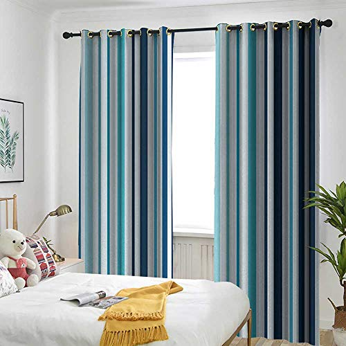 (Blackout Lined Curtains Sun Visor in Bedroom Living Room Abstract,Vertical Striped Pastel Toned Color Bands Lines Background Nautical Design,Sky and Dark Blue)