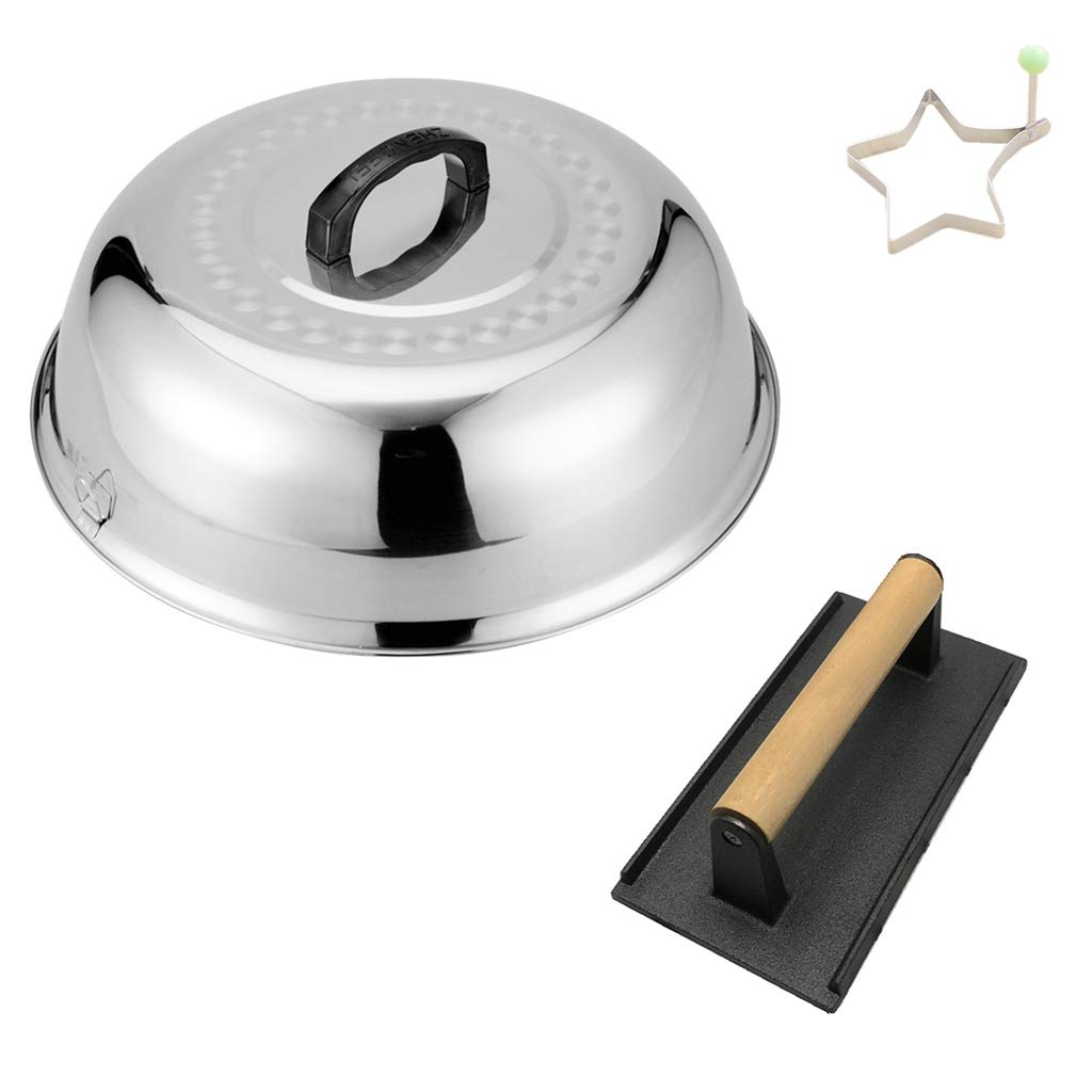 ZHOUWHJJ BBQ Stainless Steel 12'' Round Basting Cover/Cheese Melting Dome and+ Egg Ring+ Heavy-Weight Cast Iron Grill Press/Hamburger Bacon Steak Grill Press, Best for Flat Top Griddle Grill