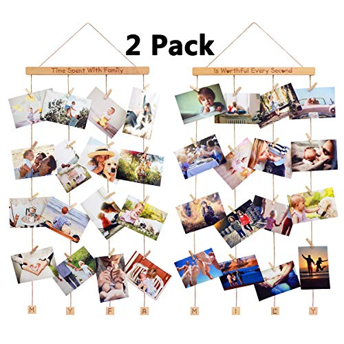 (Homemaxs Hanging Photo Display Picture Frames Collage with 40 Clips 39×15 inch, 2 Pack Pictures Organizer Wall Decor for, Prints, Artwork, Beech Wood)