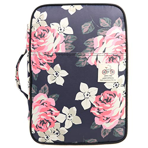 Multi-Functional A4 Document Bags Travel Portfolio Organizer Waterproof Travel Pouch Notepad Carrying Cases File Holder Tablet Sleeve Storage Bag for Travel Office Business Meeting (flowers2)