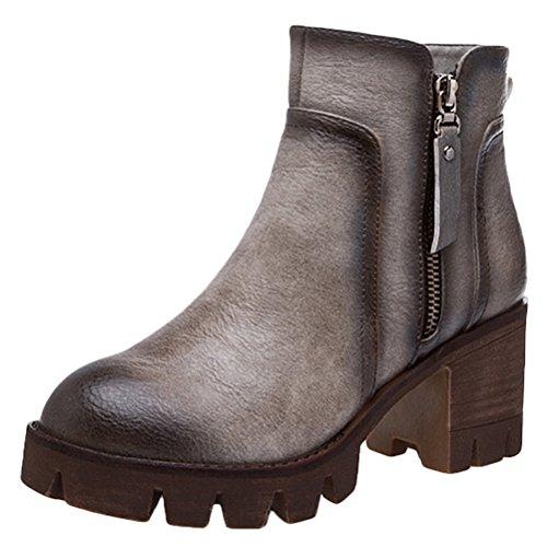 MatchLife Damen Flach Halbschaft Stiefel Style6-Grau