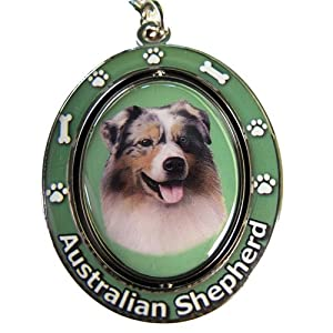 """Australian Shepherd Key Chain """"Spinning Pet Key Chains""""Double Sided Spinning Center With Australian Shepherds Face Made Of Heavy Quality Metal Unique Stylish Australian Shepherd Gifts 10"""