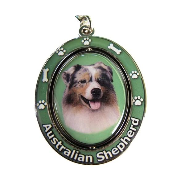 """Australian Shepherd Key Chain """"Spinning Pet Key Chains""""Double Sided Spinning Center With Australian Shepherds Face Made Of Heavy Quality Metal Unique Stylish Australian Shepherd Gifts 1"""