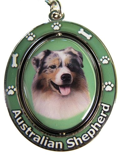Australian Shepherd Key Chain  Spinning Pet Key Chains Double Sided Spinning Centre With Australian Shepherds Face Made Of Heavy Quality Metal Unique Stylish Australian Shepherd Gifts