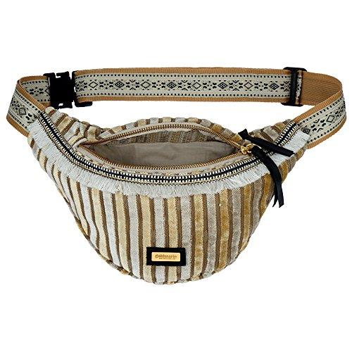 4e9fcd3cee1e4 goldmarie Hip Bag Hüfttasche Streifen Muster Gürteltasche Stoff Samt Tasche  mit Fransen Sand beige  Amazon.de  Koffer