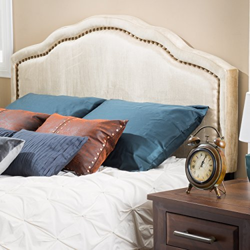 Great Deal Furniture Wimbley Champagne Velvet Queen to Full Adjustable Headboard