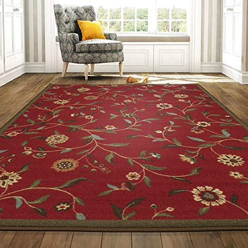 "Ottomanson Ottohome Collection Floral Garden Design Modern Area Rug with Non-Skid (Non-Slip) Rubber Backing, Dark Red, 39"" L x 60"" W"