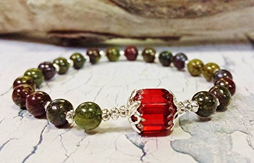 Powerful Jasper Viking Style Jewelry ~ Dragons Blood Jasper Game of Thrones Inspired Karma Bracelet ~ Mothers Day, Birthday Gift for Leo