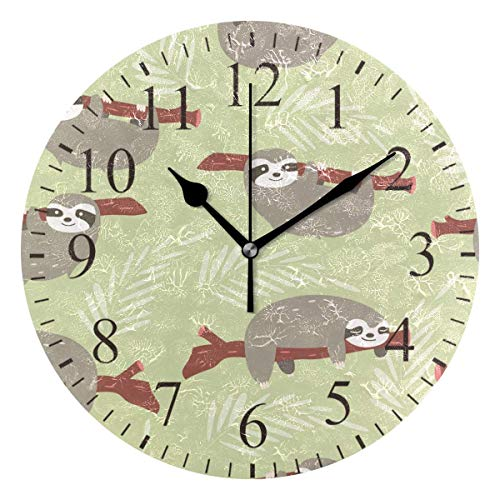 Dozili Cute Sloth with Sleeves Print Round Wall Clock Arabic Numerals Design Non Ticking Wall Clock Large for Bedrooms,Living Room,Bathroom ()