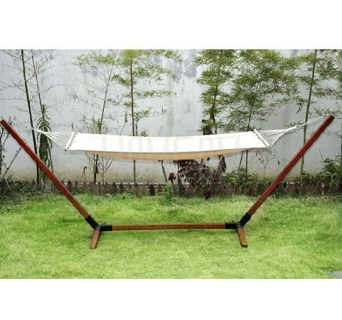 Outsunny Garden Outdoor Patio Hammock Wooden Hammock With Wood Stand Standing Frame