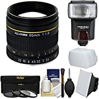 Digitalmate 85mm f/1.8 Aspherical Telephoto Lens with 3 UV/CPL/ND8 Filters + Flash + Diffusers + Kit for Nikon DSLR Cameras