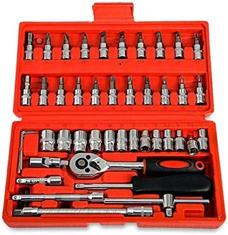 """LLSZAHD Prüfdose 1/4 """"46 PCS starken Antrieb Bit Zubehör-Set, Quick-Release Ratsche, Qualitäts-Mechaniker-Werkzeug-Set Industrie-Aufgaben,A-24 * 12.5 * 4cm"""