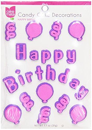 Cake Mate Candy Cake Decorations, Happy Birthday, 1 oz