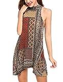 ACEVOG Women's Sleeveless Halter Neck Sexy Open Back Boho Print Mini Summer Dress