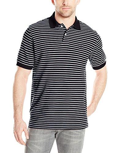 IZOD Men's Short Sleeve Coastal Prep Feeder Stripe Pique Polo, Black, 2X-Large