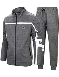 6f2c9501baea Men s Athletic Full Zip Running Tracksuit Sports Set Casual Sweat Suit