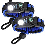Survival Paracord Bracelet with SOS LED Light! Adjustable 550 grade includes Firestarter, Compass