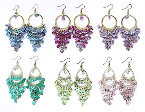 Linpeng PUP-02ASST Women's Drop Dangle Earrings/Layered Sequins/Assorted Color/6 Pairs