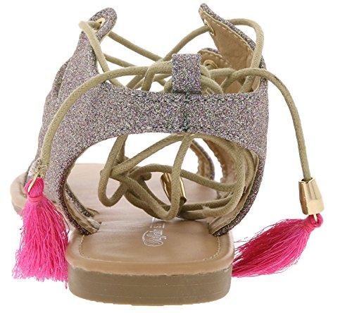 Buffalo Damen 315719 Xq-818-48 10#Glitter Knöchelriemchen Gold