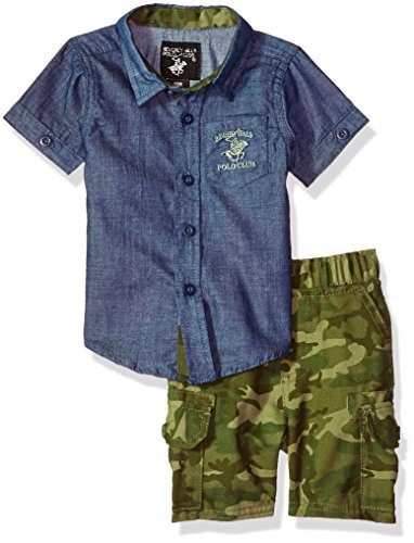 Beverly Hills Polo Club Baby Boys Woven Shirt and Short Set, Blue Chambray, 18M
