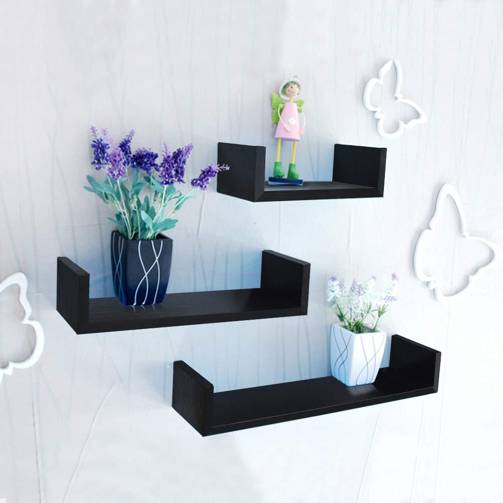 3 pezzi Nero Umi con Cornici per Foto 10x15cm Essentials Set di Mensole Pensili a U