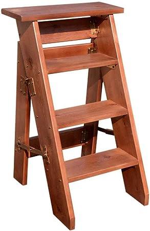 Escalera De Taburete Plegable De 4 Peldaños, Escaleras para Escaleras De Madera para Sillas De Casa para Niños Y Adultos, Herramienta Liviana para El Jardín De Casa Trabajo Pesado,Brown: Amazon.es: Hogar