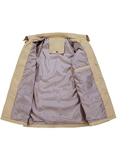 A Manica Cotone Cachi Trench Antivento Cappuccio Uomo Lunga Menschwear Giacca Cappotto WqInf4