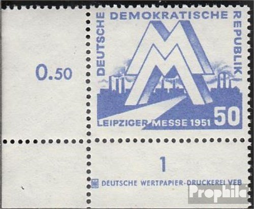 - DDR 283DZ with Printing Signs 1951 Leipzig Spring Fair (Stamps for Collectors)