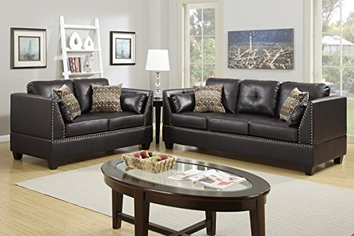 Poundex F6915 Bobkona Zenda Bonded Leather 2 Piece Sofa and Loveseat Set, Espresso