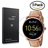Youniker 3 Pack Fossil Q Wander Gen 2 Screen Protector Tempered Glass,Fossil Q Wander 2nd Gen Screen Protector Foils Glass 9H Hardness 0.3MM Slim,Anti-Scratch, Anti-Fingerprint,Bubble Free