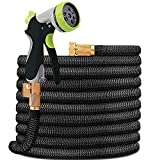 HYRIXDIRECT Garden Hose Lightweight Durable Flexible Water Hose with 3/4 Nozzle Solid Brass Connector and High Pressure Water Spray Nozzle Expanding Hoses (50 Ft)