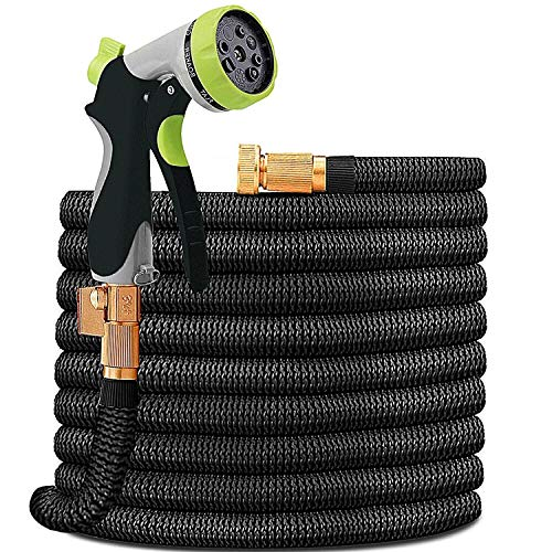 HYRIXDIRECT Garden Hose Lightweight Durable Flexible Water Hose with 3/4 Nozzle Solid Brass Connector and High Pressure Water Spray Nozzle Expanding Hoses (50 ()