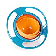 Song Kids of Plastic Creative Gyroscope 360 Degree Rotate Spill-Proof Bowl Dishes Practice Feeding Bowls Blue