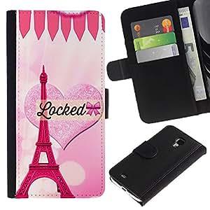 Corazón rosado del amor de la torre Eiffel de París- la tarjeta de Crédito Slots PU Funda de cuero Monedero caso cubierta de piel Para Samsung Galaxy S4 Mini i9190 (NOT S4)