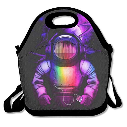 POOP LOOL Astronaut Listening to Music.png Portable Multifunctional Reusable Funny Lunchbox Picnic Lunch Tote Lunch Bag