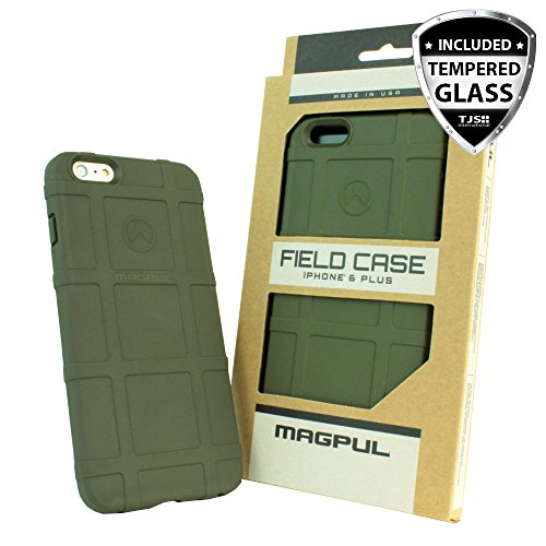 iPhone 6s Plus Case, iPhone 6 Plus Case, Magpul [Field] Polymer Case Cover MAG485 Retail Packaging for Apple iPhone 6 Plus/6S Plus 5.5 inch + TJS Tempered Glass Screen Protector (Green)