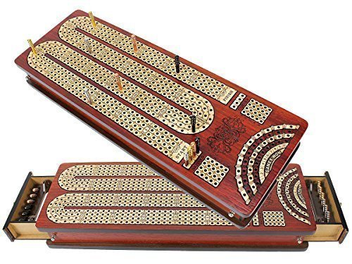 House of Cribbage Continuous Cribbage Board Bloodwood / Maple and Side Pull Drawers - 4 Tracks with Place to Mark Won Games