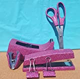 Pink Office Supplies: Pink Extra Fine Glitter Desk Stapler, Tape Dispenser, Scissors, 2 Binder Clips (32mm), and Stapler Remover Set, (Your Choice of Color)