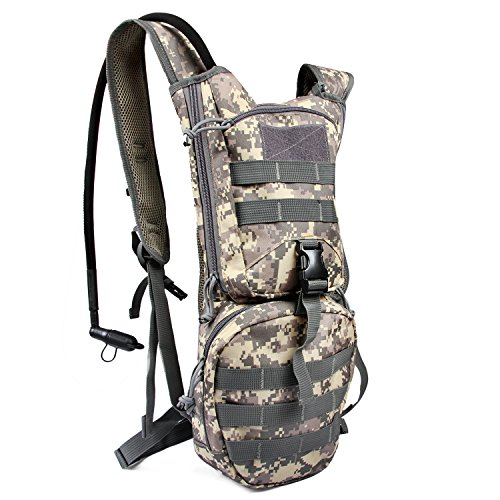 Tactical Hydration Backpack Molle 900D Nylon Pack with 3L Water Bladder Reservoir for Men Women Hiking Cycling Climbing Hunting Running