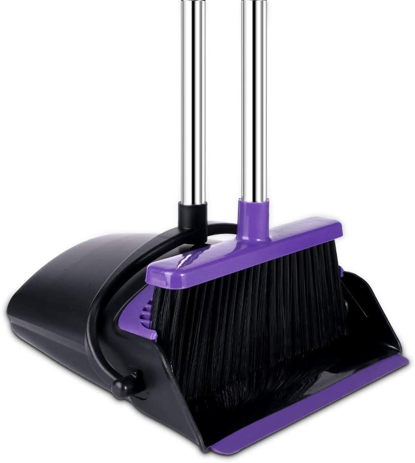 Broom and Dustpan Set Upright, 50-in Broom and Dustpan Set Long Handle Self Cleaning Broom and Dustpan Set for Home Kitchen Office Floor